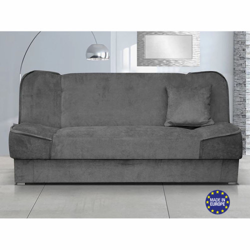 ספה אירופאית נפתחת למיטה רחבה עם ארגז מצעים דגם עדי אפור
