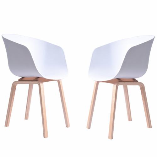 זוג כסאות עיצוב עם רגלי עץ מלא דגם גורן לבן
