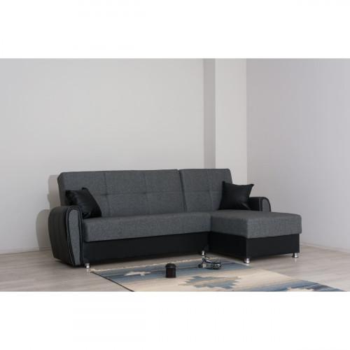 מערכת ישיבה פינתי עם 2 ארגזי מצעים נפתחת למיטה דגם ZILAN  אפור כהה ושחור