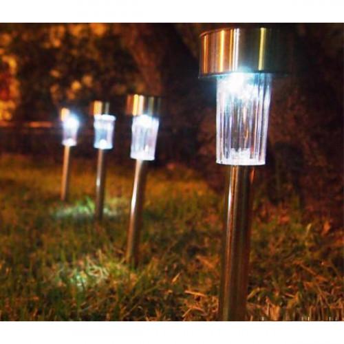 סט רביעיית נורות גן סולאריות, חסכוני בחשמל וידידותי לסביבה דגם מסמר לבן