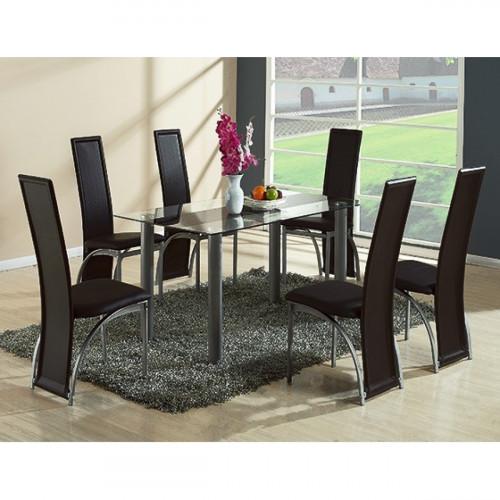 פינת אוכל מזכוכית דגם VERONA BLACK כולל 6 כיסאות