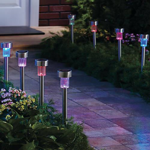 סט רביעיית נורות גן סולאריות, חסכוני בחשמל וידידותי לסביבה דגם מסמר צבעוני