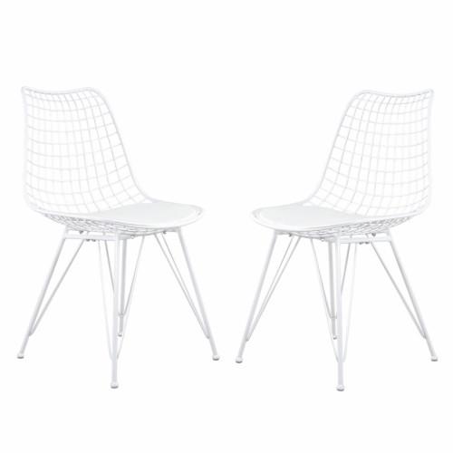 זוג כסאות מתכת עם מושב מרופד דגם יעל