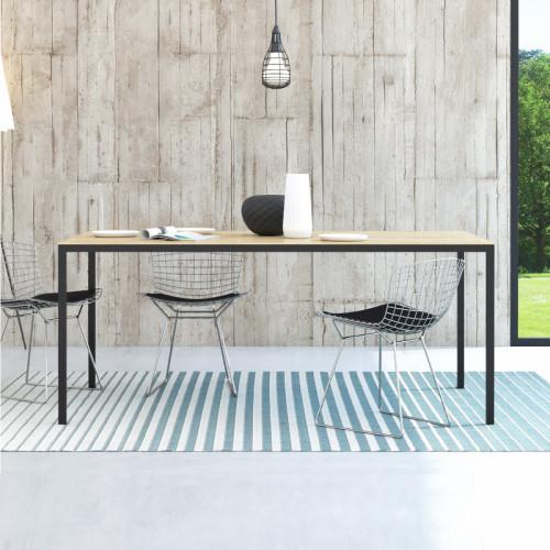 שולחן אוכל סקנדינבי 180 סמ עם רגלי ברזל דגם דורין - אלון