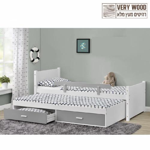 מיטת יחיד נפתחת מעץ מלא לבן + זוג מזרני ספוג 90/190 דגם ליאור