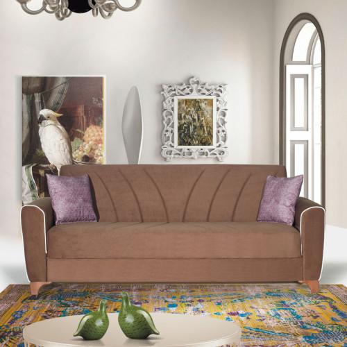 ספה תלת מושבית נפתחת למיטה רחבה עם ארגז מצעים דגם בריזה קפוצ'ינו