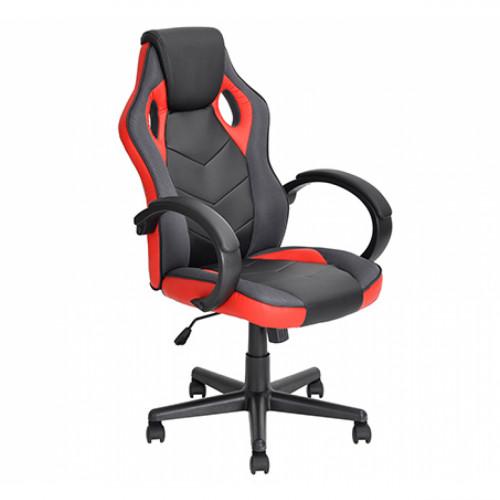 כסא סופר-גיימר  מעוצב לבית או למשרד לישיבה ממושכת ונוחה שחור משולב בבד אדום