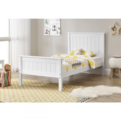 מיטת יחיד מתאימה למזרן 90/190  עשויה עץ מלא דגם עדן לבן