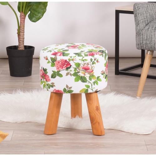כיסא הדום בריפוד בעל דוגמה פרחונית בעל רגלי עץ מלא דגם ראני