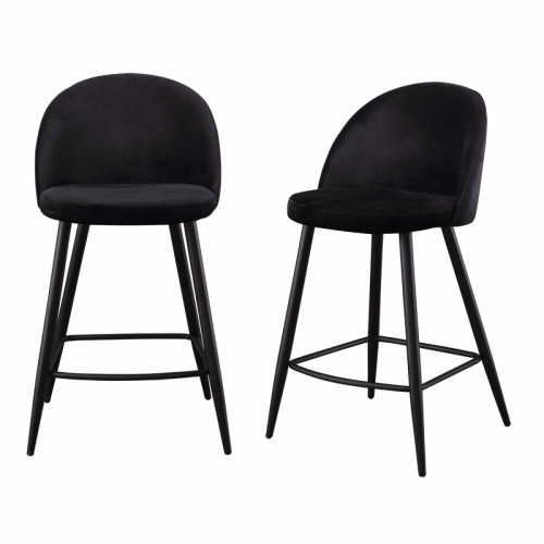 זוג כסאות בר מרופדים בד קטיפתי עם רגלי מתכת דגם קפרי שחור – משלוח חינם!