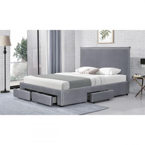 מיטה זוגית מרופדת בד קטיפתי עם 4 מגירות אחסון 160/200 דגם גאיה