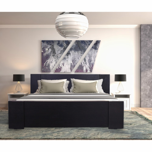 מיטה מעוצבת   בעיצוב חדשני עם ארגז מצעים  מתאימה למזרון 140/190 בצבע וונגה לאון