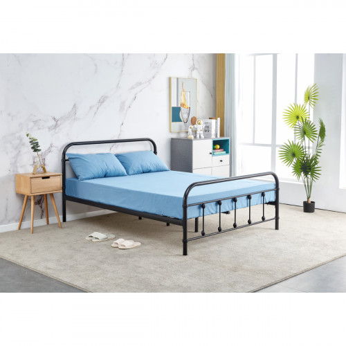 מיטת זוגית מברזל בגוון שחור למזרן 140x190 דגם אפיק 140