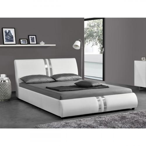 מיטה זוגית מעוצבת ומרופדת בציפוי דמוי עור לבן המתאימה למזרון 140/190 דגם גלי