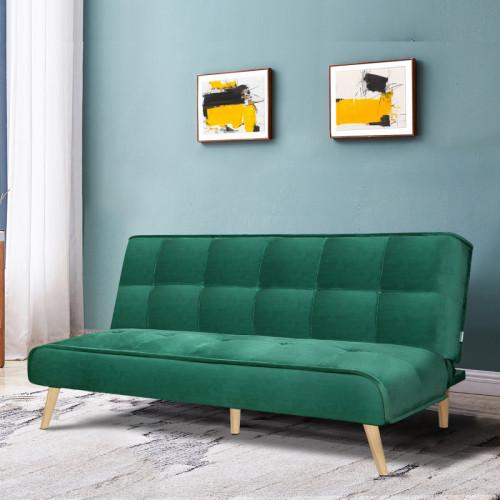 ספה נפתחת למיטה רחבה מרופדת בד קטיפה דגם לאון ירוק