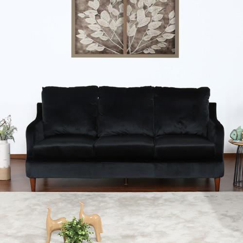 ספה תלת מושבית נוחה בעיצוב קלאסי מרופדת בד קטיפתי דגם מסינה-תלת שחור