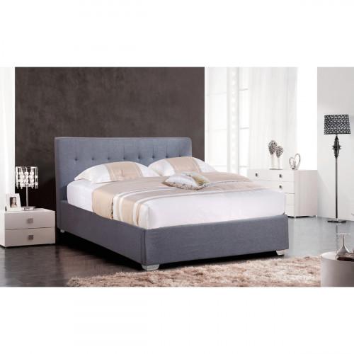 מיטה זוגית 160/200 מעוצבת בריפוד בד עם ארגז מצעים מעץ דגם נועם