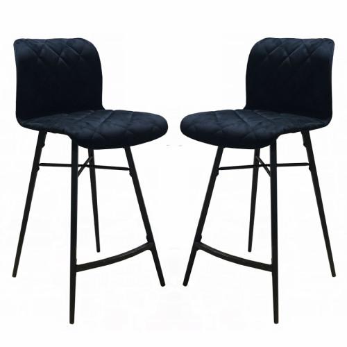זוג כסאות בר בריפוד בד קטיפתי עם רגלי מתכת דגם מנהטן שחור – משלוח חינם!
