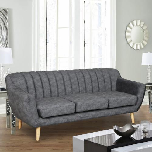 ספה תלת מושבית מעוצבת עם קפיצים מבודדים ובד רחיץ דגם פורטו אפור