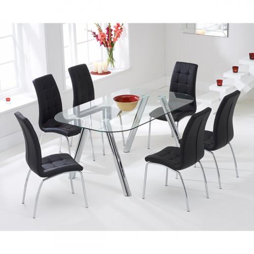 פינת אוכל מזכוכית דגם DONNA כולל 6 כיסאות