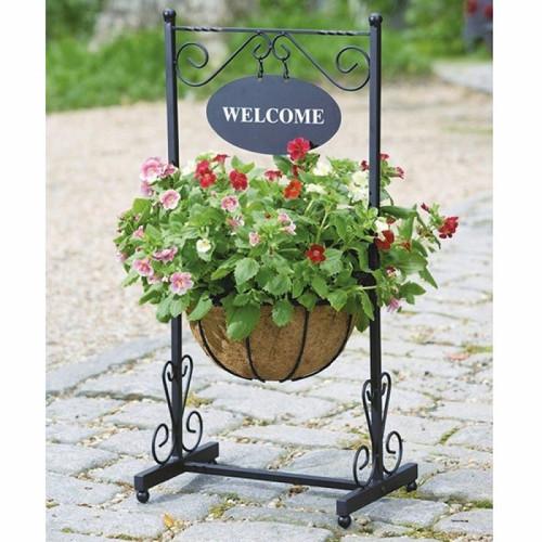 מתקן לעציץ ושלט WELCOME ממתכת לעיצוב הבית והגינה