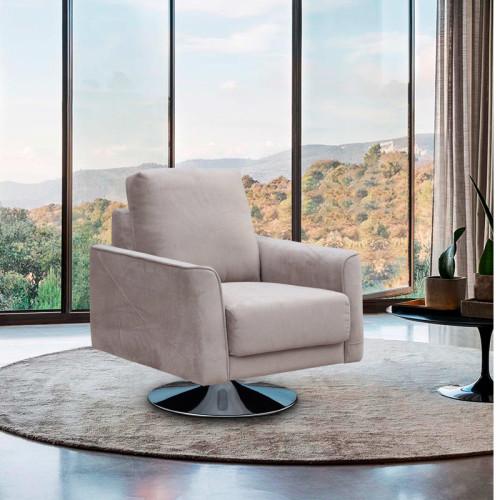 כורסא מעוצבת מרופדת בד רחיץ עם רגל מסתובבת דגם בריטני קפוצ'ינו