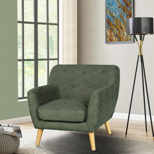 כורסא מעוצבת בעיצוב רטרו עם ריפוד בד רחיץ דגם אליס ירוק