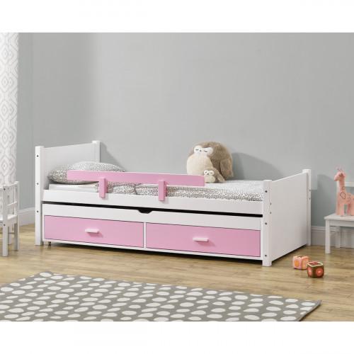 מיטת ילדים מעץ מלא עם מיטת חבר נשלפת  כולל זוג מזרנים דגם שני