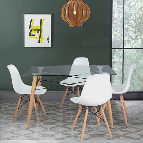 פינת אוכל כולל 4 כיסאות לבנות סלין