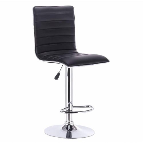 כיסא בר מונפלייה בעיצוב אלגנטי ועדין בריפוד דמוי עור שחור
