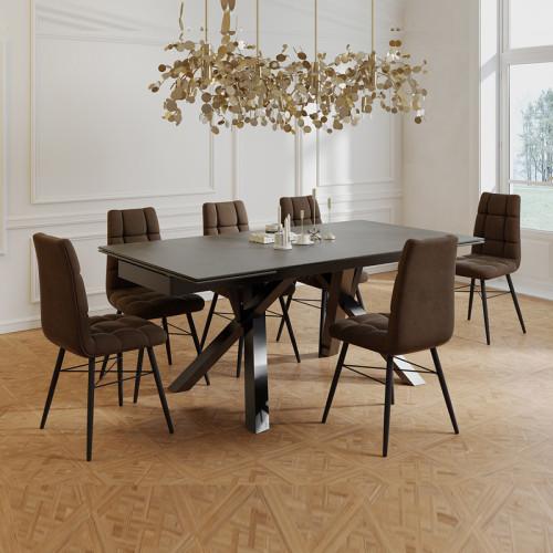 פינת אוכל מפוארת עם שולחן קרמיקה 1.8 מ' נפתח ל- 2.6 מ' ו-6 כסאות דגם ברצלונה-קרול