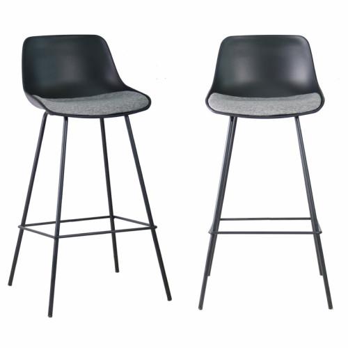 זוג כסאות בר מרופדים בד עם רגלי ברזל  דגם אילן