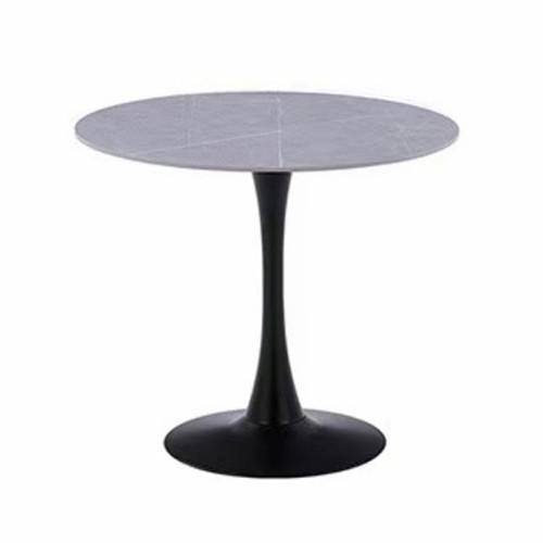 שולחן אוכל עגול עם פלטת אבן ייחודית ורגל ברזל דגם שפילד אפור