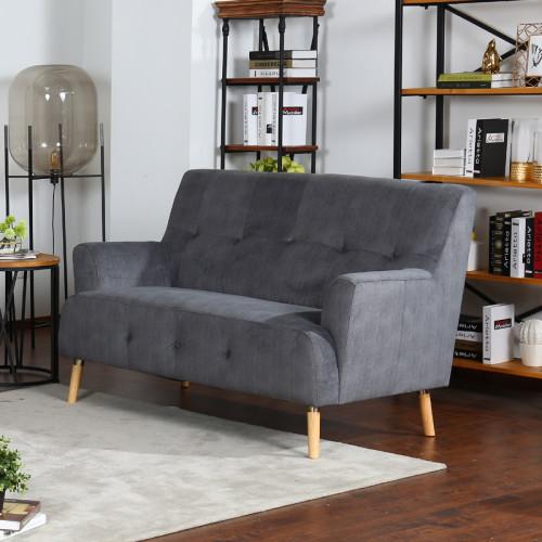 ספה דו מושבית נוחה בעיצוב רטרו מרופדת בד רחיץ דגם דניאל-דו אפור