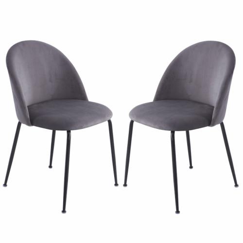 זוג כסאות מרופדים לפינת אוכל דגם תובל אפור – משלוח חינם!
