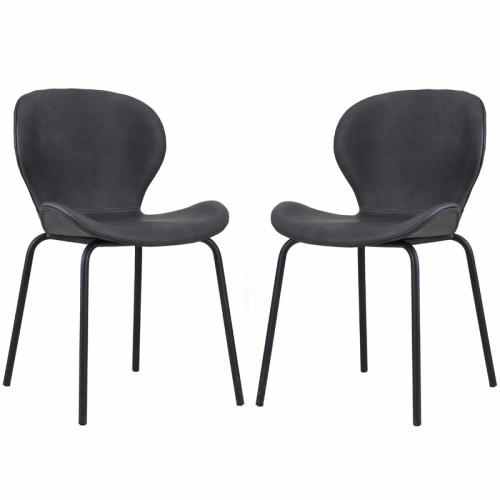 זוג כסאות לפינת אוכל עם רגלי מתכת  דגם שחר – משלוח חינם!