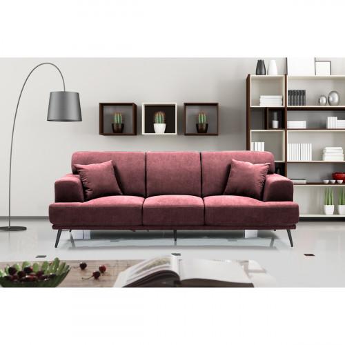 ספה תלת מושבית מעוצבת עם ריפוד דוחה נוזלים דגם סטנלי בורדו