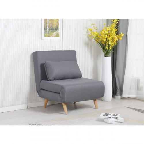 כורסא בריפוד בד נפתחת למיטה דגם ניקי 80 אפור