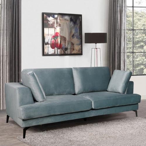 ספה תלת מושבית מרופדת בד קטיפתי דגם אלפא-תכלת
