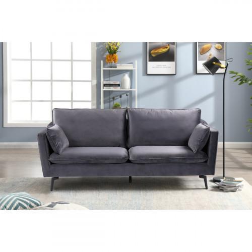 ספה תלת מושבית מעוצבת עם קפיצים מבודדים ובד קטיפה דגם רותם אפור
