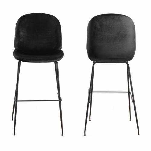 זוג כסאות בר מרופדים בד קטיפה עם רגלי ברזל  דגם אלונה
