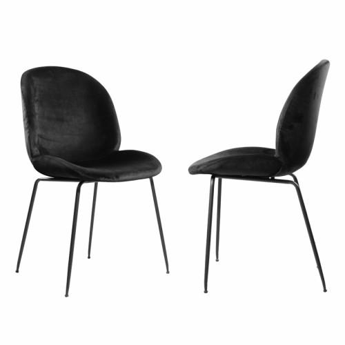 זוג כסאות לפינת אוכל עם רגלי יתוש מברזל ובד קטיפה  דגם אגם