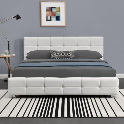 מיטה זוגית 160x190 מעוצבת בריפוד דמוי עור דגם עומר