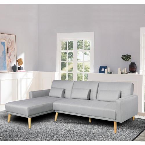 מערכת ישיבה פינתית מבד נפתחת למיטה זוגית דגם נופר אפור (פינה צד ימין )