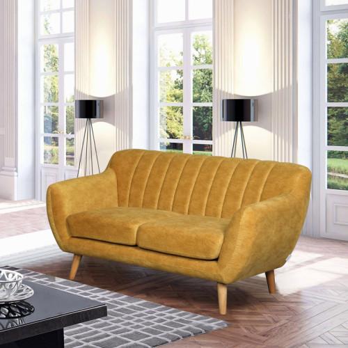 ספה דו מושבית מעוצבת עם קפיצים מבודדים ובד רחיץ דגם פורטו חרדל