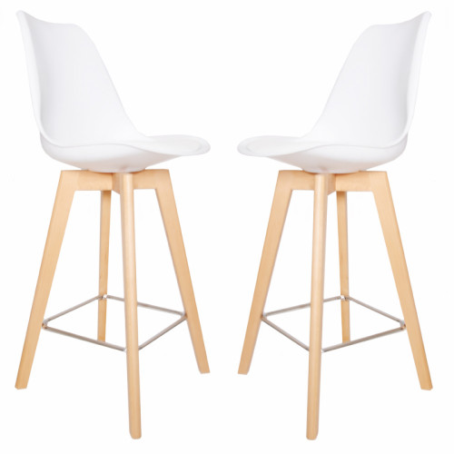 זוג כסאות בר עם כרית מרופדת ורגלי עץ מלא דגם דותן לבן