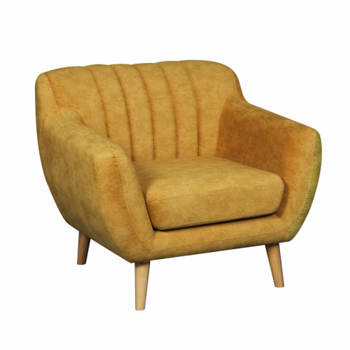 כורסא מעוצבת בעיצוב רטרו עם ריפוד בד רחיץ דגם פורטו חרדל