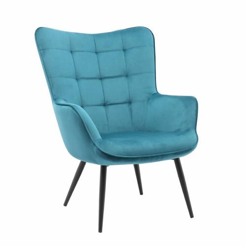 כורסא מלכותית מעוצבת עם רגלי מתכת וריפוד קטיפתי דגם בוסטון כחול