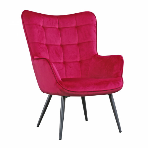 כורסא מלכותית מעוצבת עם רגלי מתכת וריפוד קטיפתי דגם בוסטון  ורוד-אדום