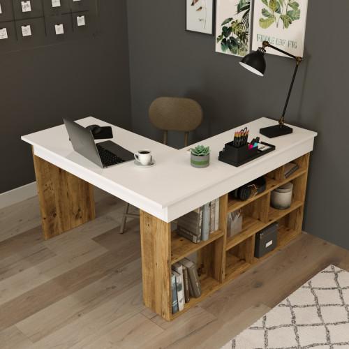 שולחן כתיבה Ceto-Corner CT5-AW אלון/לבן מסדרת Peyton